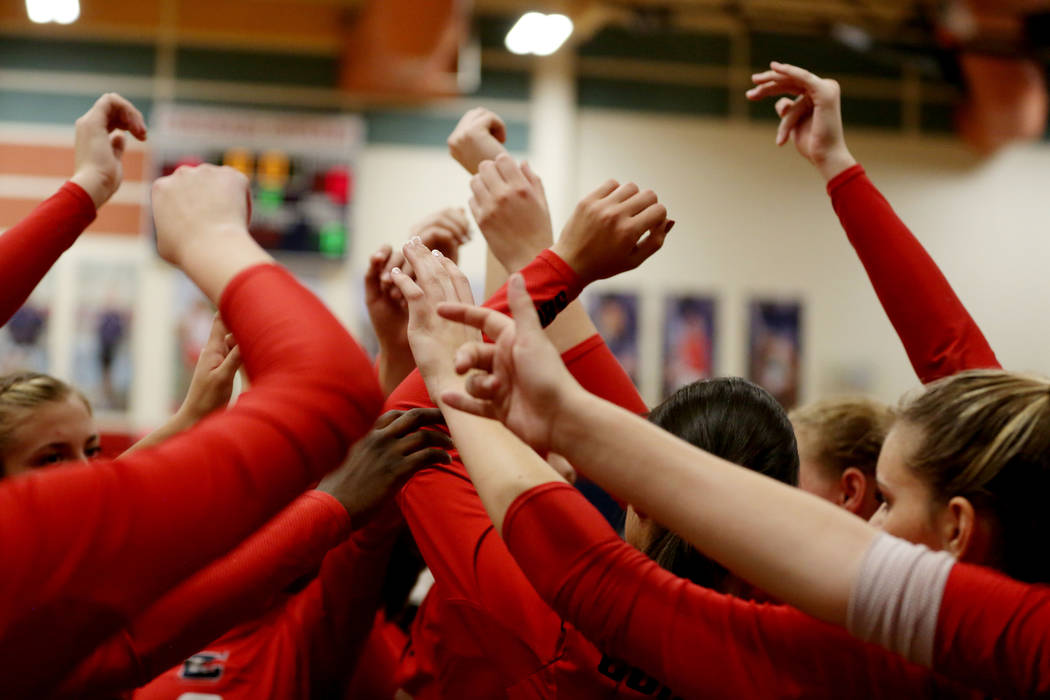 Coronado breaks during the Class 4A Sunrise Region volleyball semifinal against Foothill at Coronado High School in Henderson, Thursday, Nov. 2, 2017. Elizabeth Brumley Las Vegas Review-Journal @E ...