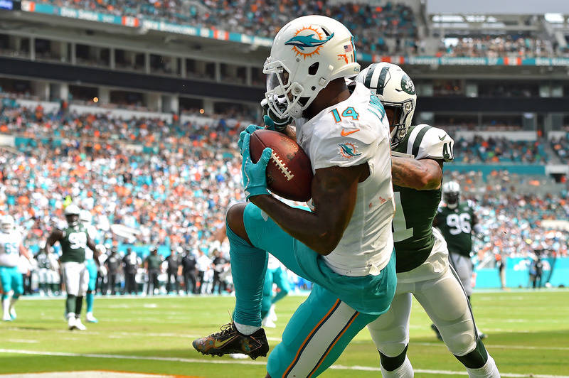 Oct 22, 2017; Miami Gardens, FL, USA; Miami Dolphins wide receiver Jarvis Landry (14) makes catch for a touchdown against the New York Jets during the first half at Hard Rock Stadium. Mandatory Cr ...
