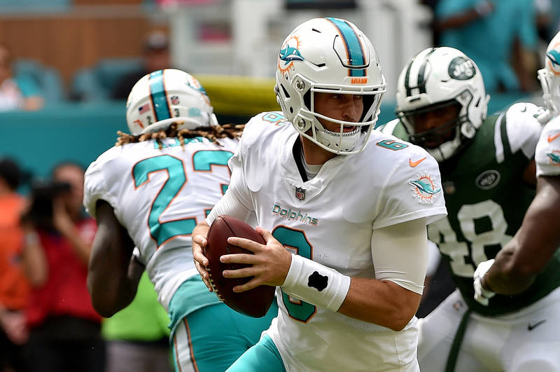 Oct 22, 2017; Miami Gardens, FL, USA; Miami Dolphins quarterback Jay Cutler (6) throws the ball during the first half against the New York Jets at Hard Rock Stadium. Mandatory Credit: Steve Mitche ...