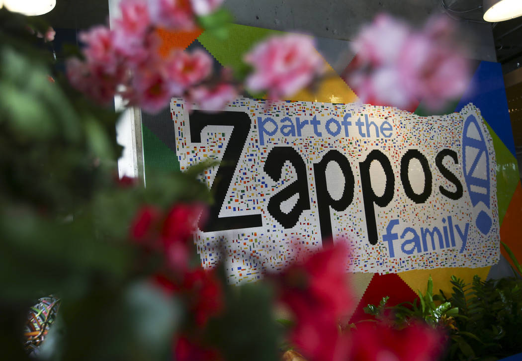 A sign made of Legos in the lobby area at Zappos headquarters in downtown Las Vegas on Thursday, June 1, 2017. Chase Stevens Las Vegas Review-Journal @csstevensphoto