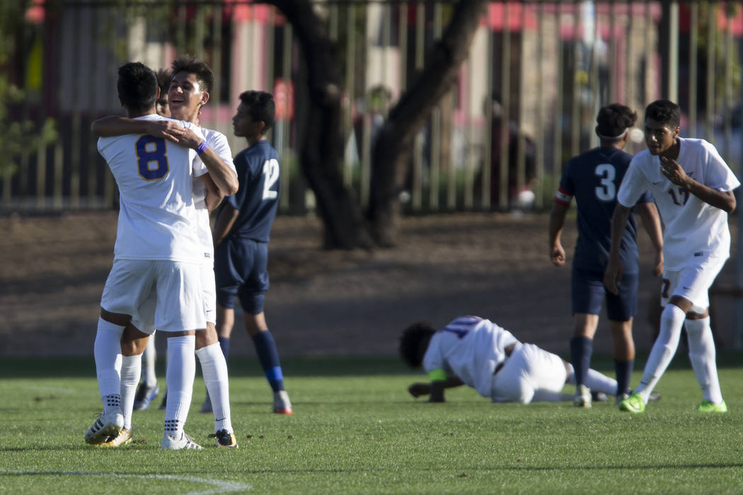 Durango players celebrate a goal in the playoff soccer game against Legacy at the Bettye Wilson Soccer Complex in Las Vegas, Thursday, Nov. 2, 2017. Durango won 5-1. Erik Verduzco Las Vegas Review ...