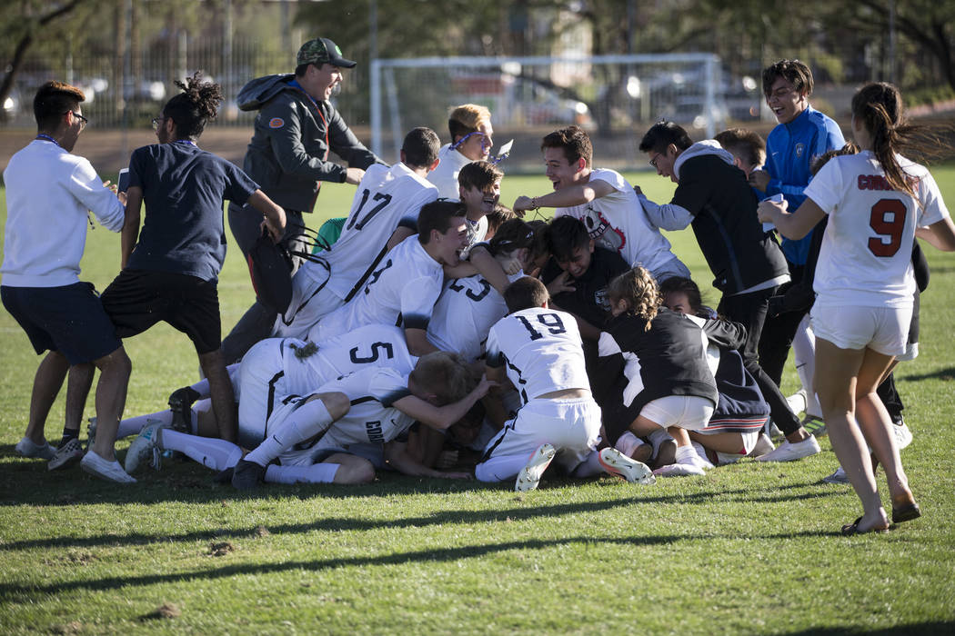 Coronado players celebrate their 2-1 victory against Eldorado in the Sunrise Region boy's championship soccer game at the Bettye Wilson Soccer Complex in Las Vegas, Saturday, Nov. 4, 2017. Erik Ve ...
