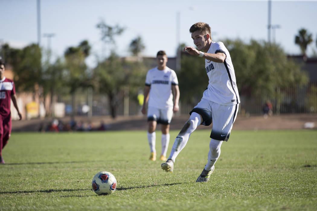 Coronado's John Lynam (7) kicks a penalty kick that was blocked against Eldorado in the Sunrise Region boy's championship soccer game at the Bettye Wilson Soccer Complex in Las Vegas, Saturday, No ...