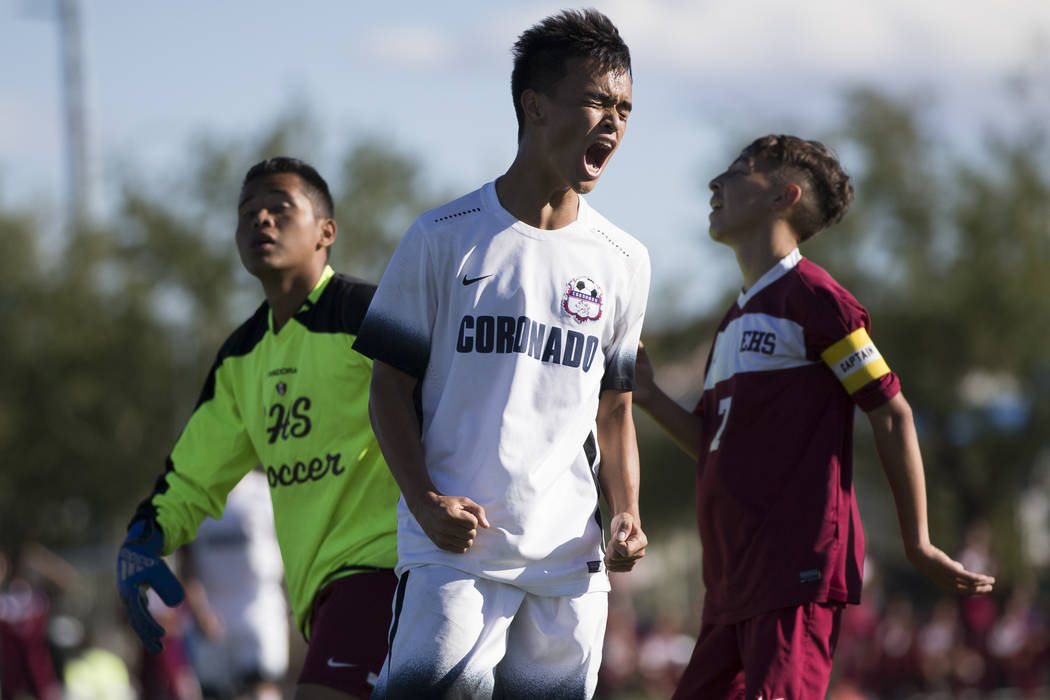 Coronado's Lincoln Aquino (10) reacts after missing a goal opportunity against Eldorado in the Sunrise Region boy's championship soccer game at the Bettye Wilson Soccer Complex in Las Vegas, Satur ...