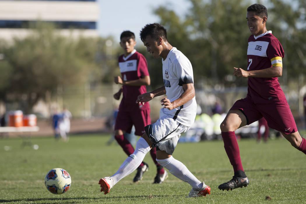 Coronado's Lincoln Aquino (10) kicks a ball for the goal against Eldorado in the Sunrise Region boy's championship soccer game at the Bettye Wilson Soccer Complex in Las Vegas, Saturday, Nov. 4, 2 ...