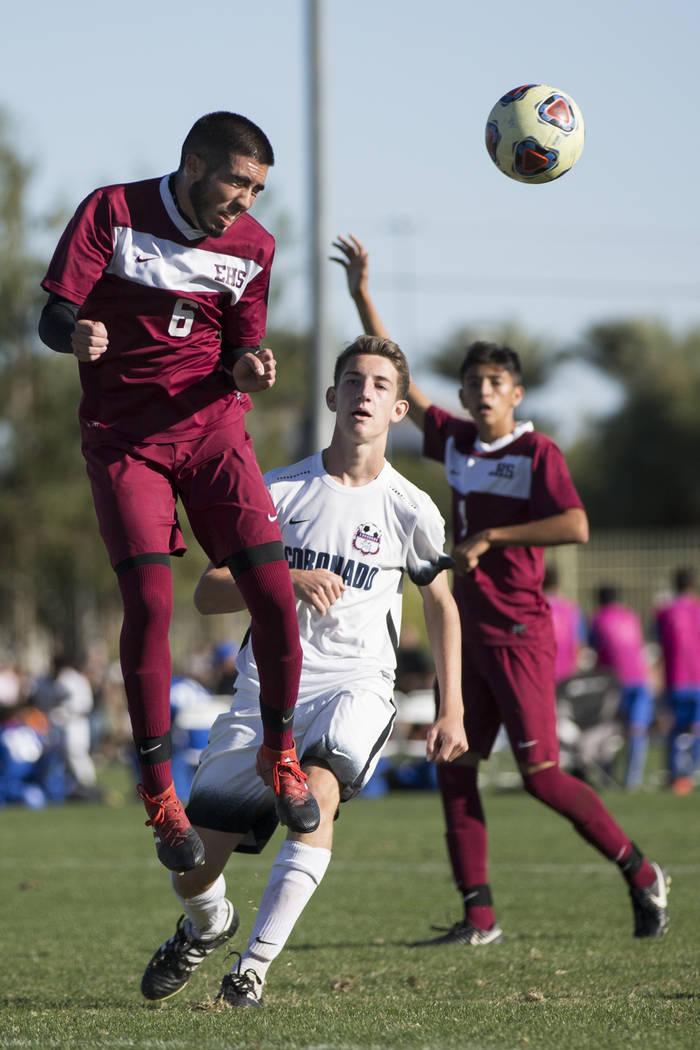 Eldorado's Jonathan Pinal (6) clears the ball against Coronado in the Sunrise Region boy's championship soccer game at the Bettye Wilson Soccer Complex in Las Vegas, Saturday, Nov. 4, 2017. Corona ...