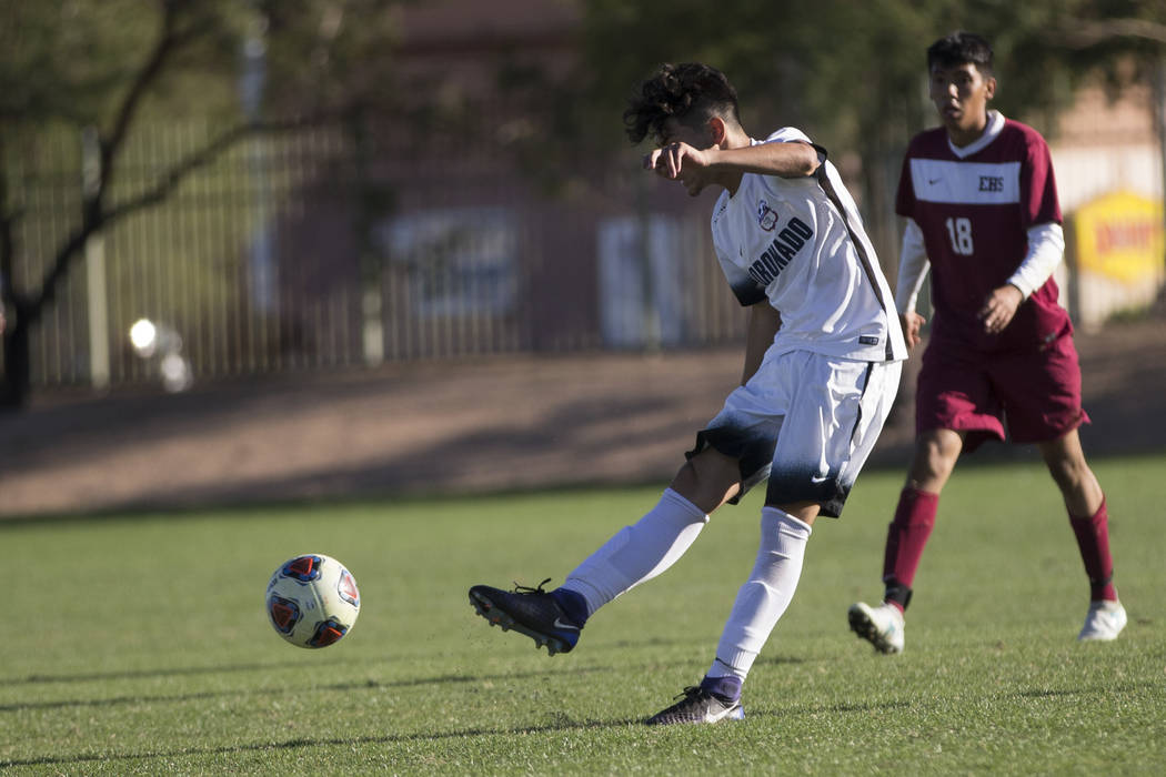 Coronado's Brock Rideout (16) kicks the golden goal against Eldorado in the Sunrise Region boy's championship soccer game at the Bettye Wilson Soccer Complex in Las Vegas, Saturday, Nov. 4, 2017.  ...