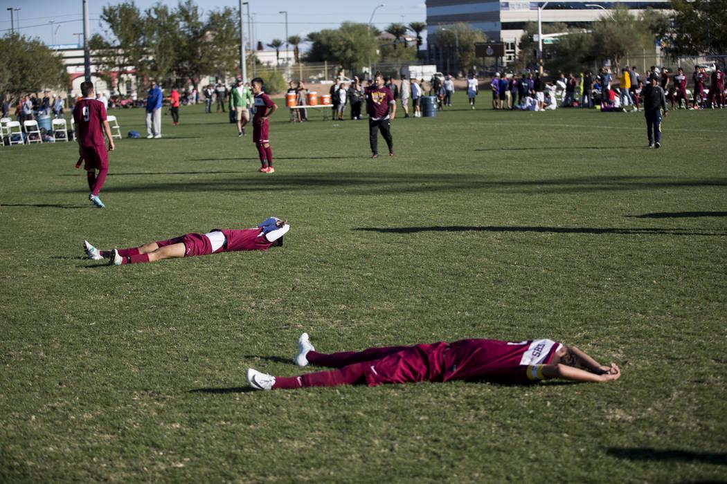Eldorado players react after losing against Coronado in the Sunrise Region boy's championship soccer game at the Bettye Wilson Soccer Complex in Las Vegas, Saturday, Nov. 4, 2017. Coronado won 2-1 ...