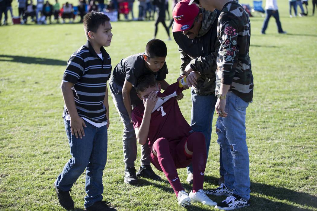 Eldorado's Roberto Soto (7) reacts after losing against Coronado in the Sunrise Region boy's championship soccer game at the Bettye Wilson Soccer Complex in Las Vegas, Saturday, Nov. 4, 2017. Coro ...