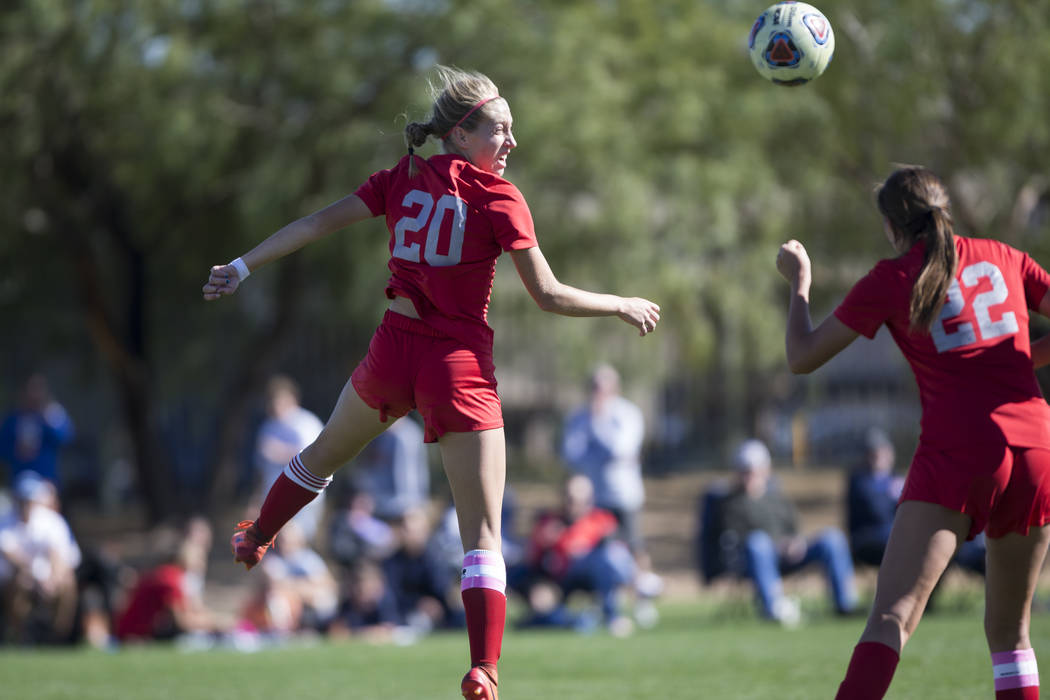 Arbor View's Allyssa Larkin (20) leaps for the ball against Bishop Gorman in the Sunset Region girl's soccer championship game at the Bettye Wilson Soccer Complex in Las Vegas, Saturday, Nov. 4, 2 ...
