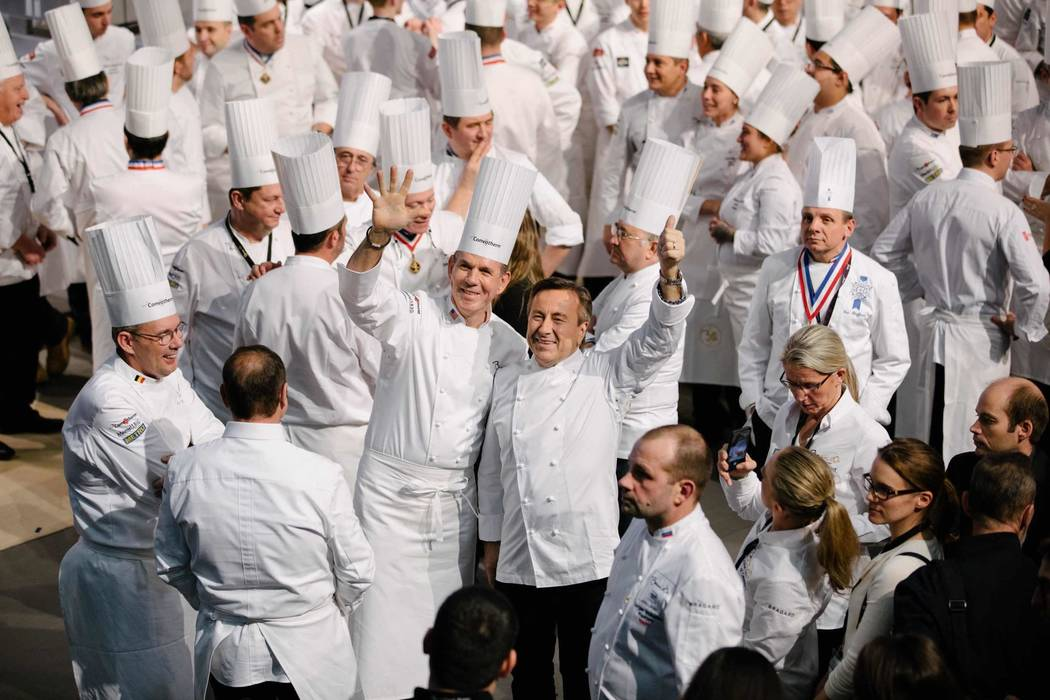 Chefs Thomas Keller, center left, and Daniel Boulud at Bocuse d'Or biennial competition in Lyon, France, in January. (David Escalante)