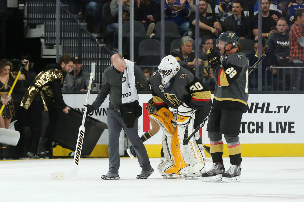 Vegas Golden Knights goalie Malcolm Subban (30) is helped off the ice during a game against St. Louis Blues at T-Mobile Arena in Las Vegas, Saturday, Oct. 21, 2017. Vegas Golden Knights won 3-2 in ...