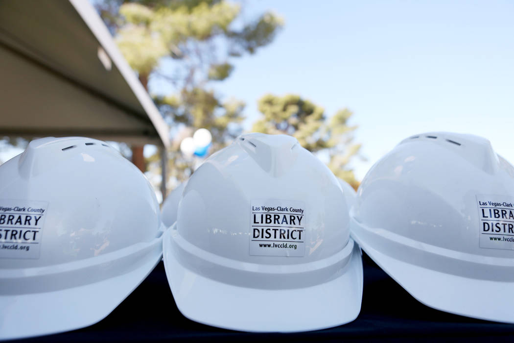 Hard hats are displayed during the Las Vegas-Clark County Library District groundbreaking of the new East Las Vegas Library branch in Las Vegas, Thursday, Nov. 2, 2017. Elizabeth Brumley Las Vegas ...