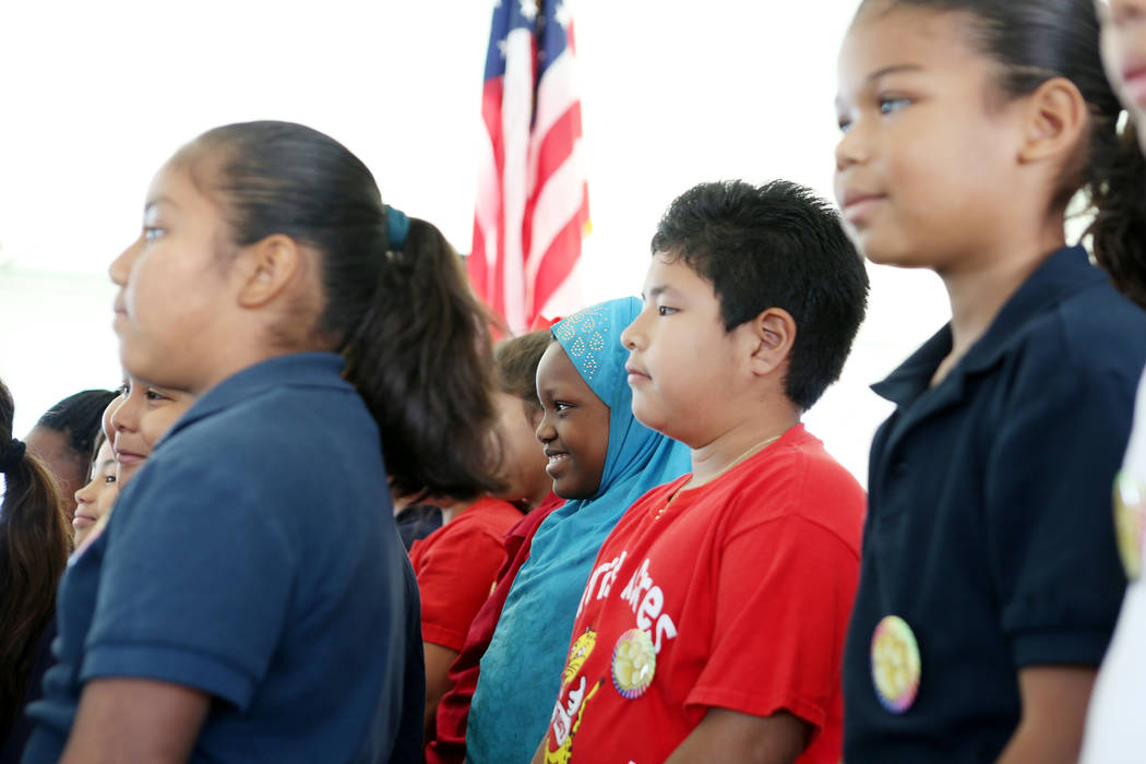 Students from Sunrise Acres Elementary school sing during the Las Vegas-Clark County Library District groundbreaking of the new East Las Vegas Library branch in Las Vegas, Thursday, Nov. 2, 2017.  ...
