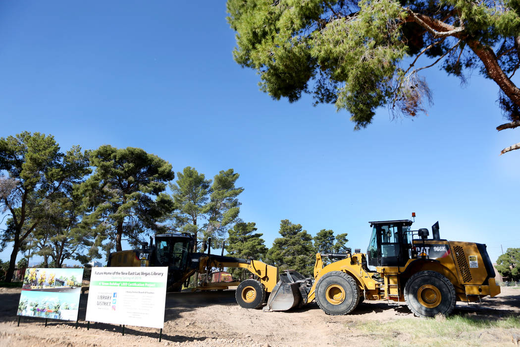 Construction equipment and a redesign of the new during sits where the new East Las Vegas Library will be built during the groundbreaking in Las Vegas, Thursday, Nov. 2, 2017. Elizabeth Brumley La ...