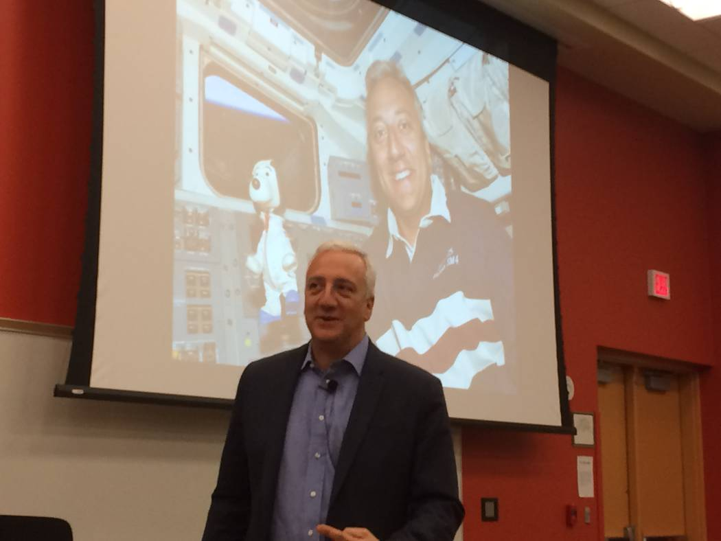 Mike Massimino, former NASA astronaut, talks to Bishop Gorman STEM students Oct. 18, 2017, about his two trips into space where he and his team worked on the Hubble space telescope. The oddest que ...