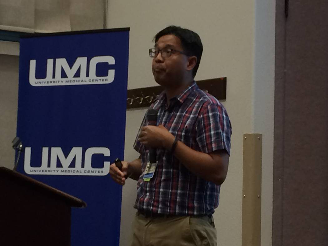 Dr. Arthur Romero, pulmonologist with UMC, speaks to Sun City Summerlin residents about lung cancer and their risk. He was the guest speaker at one of the community's Lunch and Learn events. (Jan  ...