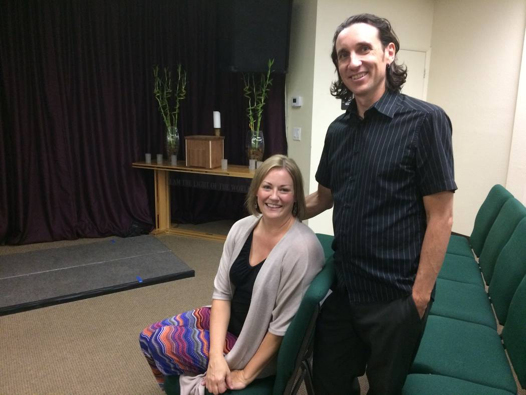 """Rev. Shad Groverland and his wife,  Erinna, talk Sept. 22, 2017, about the merger of the two Unity churches, which was prompted by the retirement of pastor of the Henderson-based church. """"I was  ..."""