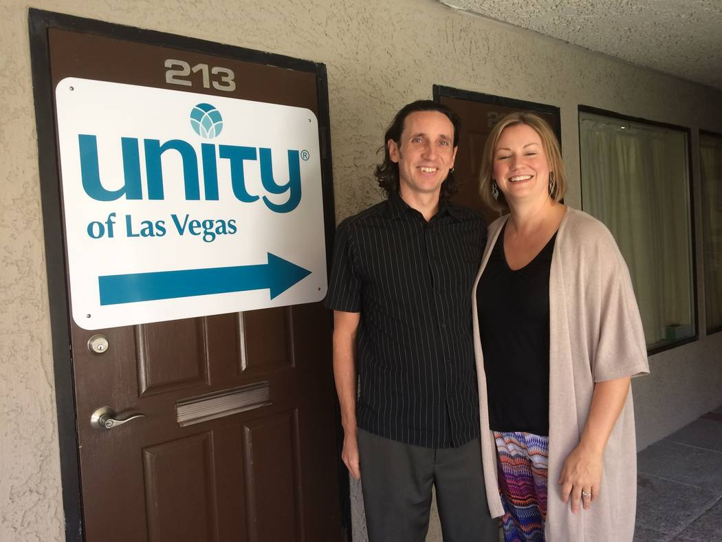 """Rev. Shad Groverland and his wife,  Erinna, talk Sept. 22, 2017, about the merger of the two Unity churches. """"I was excited, I thought it was a great idea, coming together in unity when our name ..."""