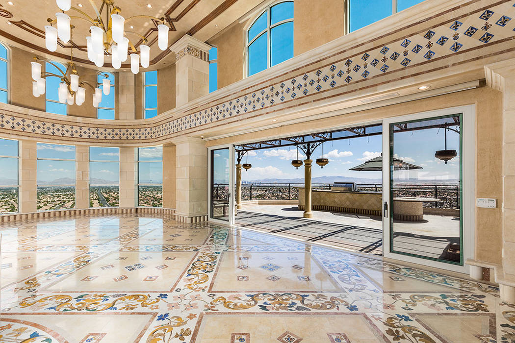 The three-story Crown Penthouse measures 15,395 square feet and is listed for $15 million. (Luxury Estates International)