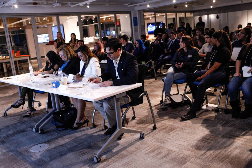 Judges score student presentations during the CTA Future Innovators Business Pitch Competition at the RedFlint Experience Center in Las Vegas on Thursday, Nov. 2, 2017. Joel Angel Juarez Las Vegas ...