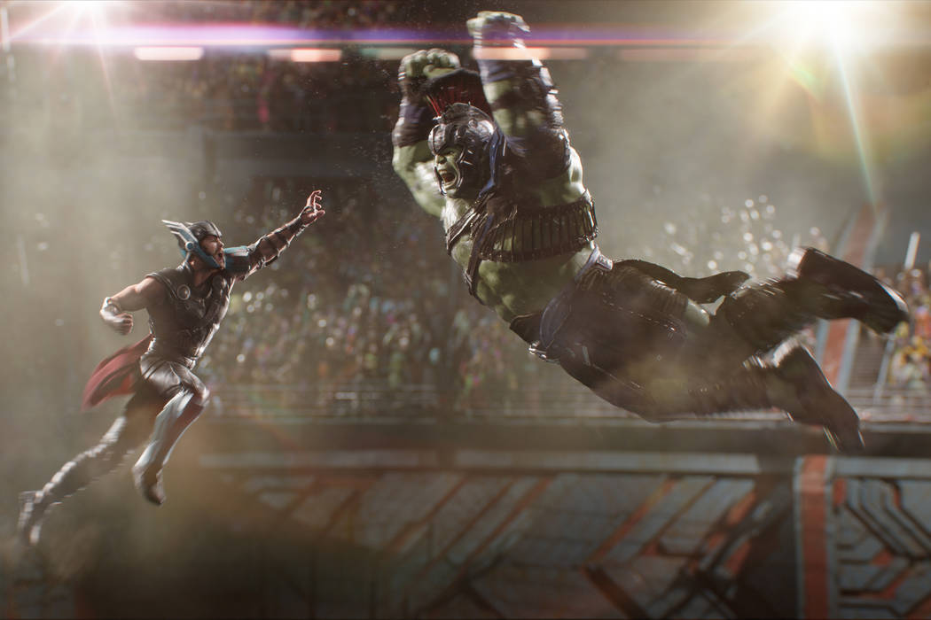 Thor (Chris Hemsworth) and Hulk (Mark Ruffalo) in Marvel Studios Thor: Ragnarok. Film Frame ©Marvel Studios 2017