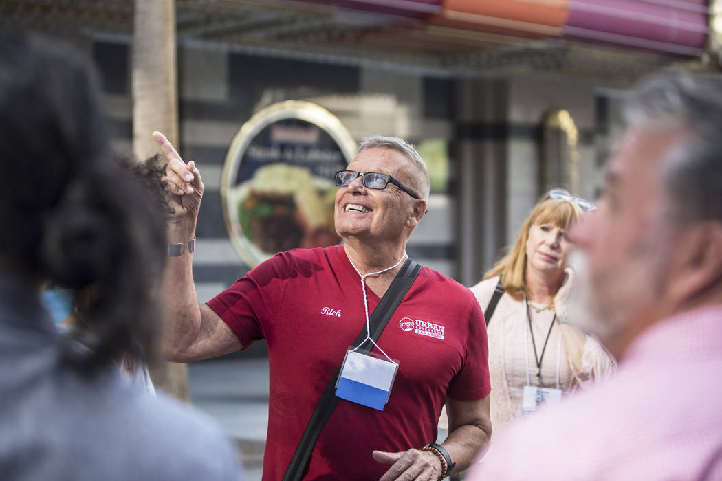 Cultural urbanist Richard Hooker, middle, of Las Vegas Urban Adventures, leads a ten-block walking tour of downtown Las Vegas on Thursday, November 2, 2017. Benjamin Hager Las Vegas Review-Journal ...