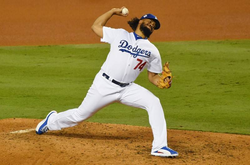 Oct 31, 2017; Los Angeles, CA, USA; Los Angeles Dodgers relief pitcher Kenley Jansen throws a pitch in the 8th inning against the Houston Astros in game six of the 2017 World Series at Dodger Stad ...