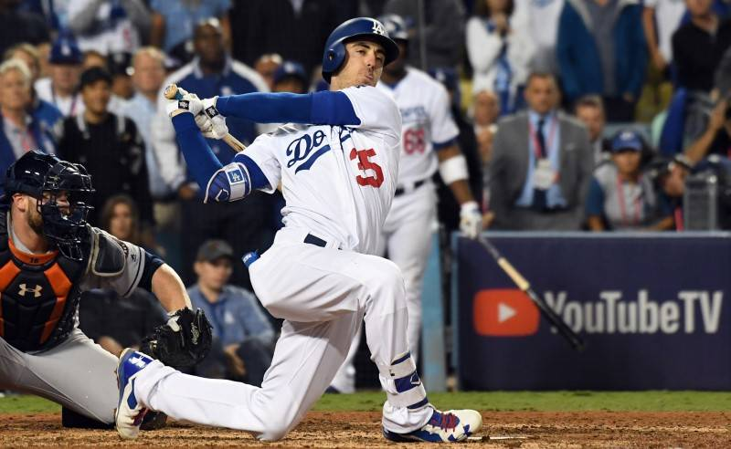 Oct 31, 2017; Los Angeles, CA, USA; Los Angeles Dodgers first baseman Cody Bellinger (35) strikes out in the eighth inning against the Houston Astros in game six of the 2017 World Series at Dodger ...