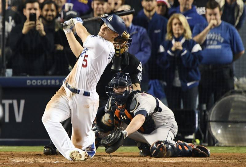 Oct 31, 2017; Los Angeles, CA, USA; Los Angeles Dodgers shortstop Corey Seager (5) strikes out in the eighth inning against the Houston Astros in game six of the 2017 World Series at Dodger Stadiu ...