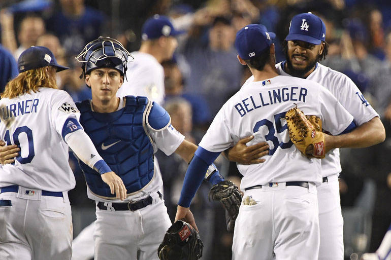 Oct 31, 2017; Los Angeles, CA, USA; Los Angeles Dodgers first baseman Cody Bellinger (35) and relief pitcher Kenley Jansen (74) celebrate after the Los Angeles Dodgers defeated the Houston Astros  ...