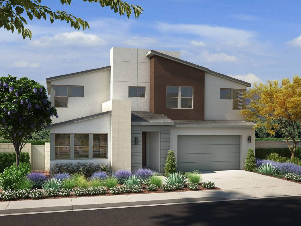 Pardee Homes' Cobalt is in the northwest Las Vegas master-planned community of Skye Canyon and features new homes priced from the $460,000s. Shown is a rendering of Cobalt Plan Four with the Nev ...