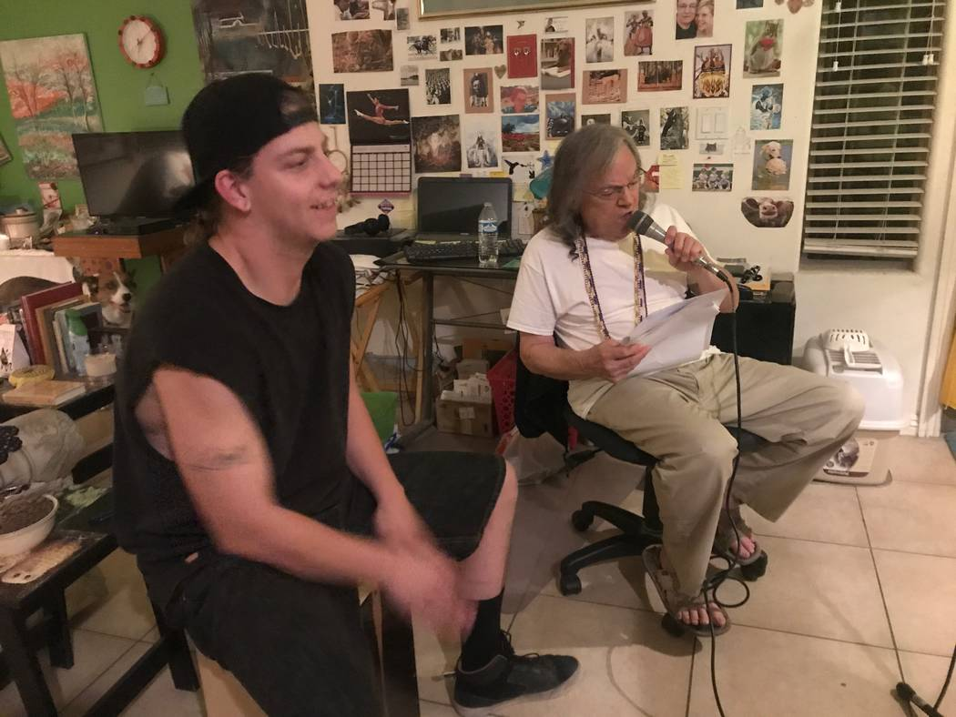 """Boundless Brothers band member David Mathis Jr., left, and Nick Marco, right, rehearsing for their show """"Broke Old Goat, Hawt Young Chick,"""" on Oct. 31, 2017 at Marco's home. (Kailyn Brown/View) @K ..."""