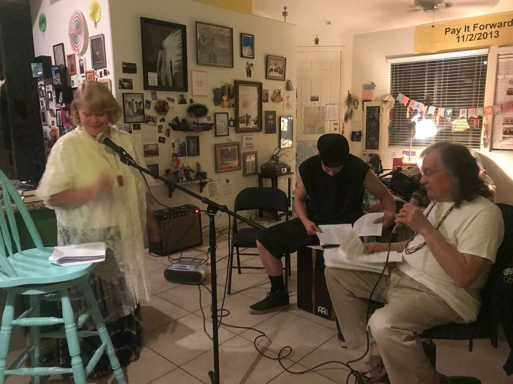 """From left, Lana Hanson, David Mathis Jr. and Nick Marco rehearsing for their show """"Broke Old Goat, Hawt Young Chick,"""" on Oct. 31, 2017 at a residence. (Kailyn Brown/View) @KailynHype"""