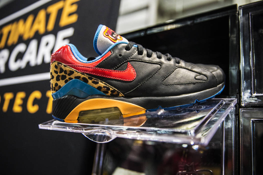 A pair of Nike prototype sneakers designed for Kayne West at Jaysee Lopez's Urban Necessities during Sneaker Con at the Las Vegas Convention Center on Saturday, Nov. 11, 2017, in Las Vegas.  Benja ...