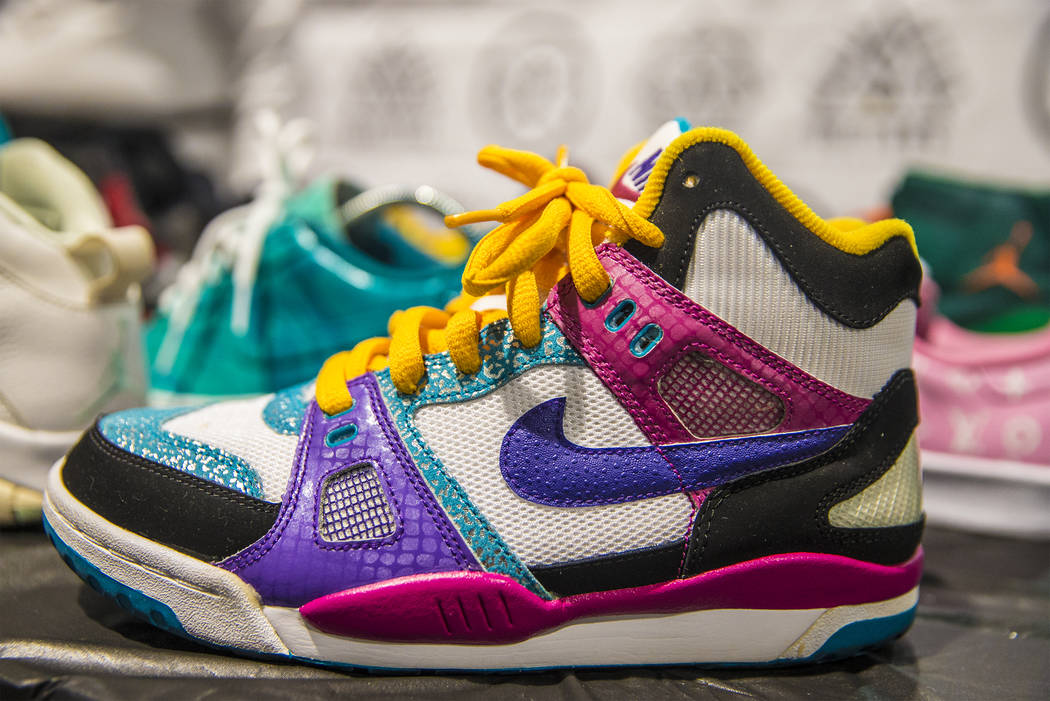 A custom designed Nike shoe from TC Customs at the Girls After Dollars booth during Sneaker Con at the Las Vegas Convention Center on Saturday, Nov. 11, 2017, in Las Vegas.  Benjamin Hager Las Veg ...