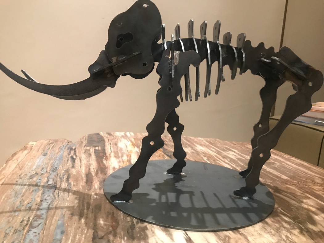 A portrait of the model of the Mammoth project that Tahoe Mack is planning to build for Tule Springs Fossil Beds National Monument on Oct. 31, 2017 at her Summerlin home. (Kailyn Brown/View) @Kail ...