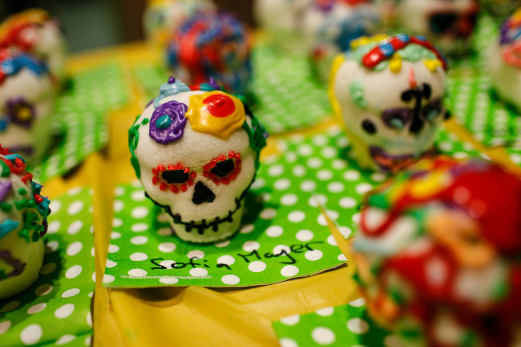 Sugar skulls on display during a Dia de los Muertos event at Springs Preserve in Las Vegas, Sunday, Nov. 5, 2017. Joel Angel Juarez Las Vegas Review-Journal @jajuarezphoto