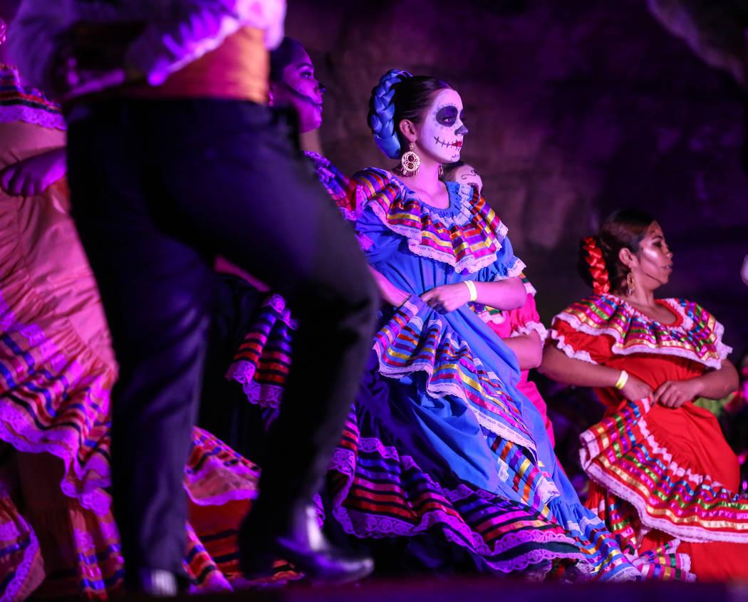 Dancers perform during a Dia de los Muertos event at Springs Preserve in Las Vegas, Sunday, Nov. 5, 2017. Joel Angel Juarez Las Vegas Review-Journal @jajuarezphoto