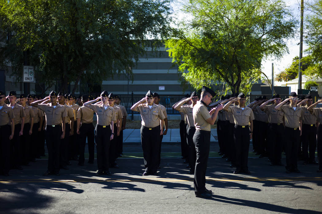 JROTC parade participates get ready for the start of the Veterans Day Parade in downtown Las Vegas on Saturday, Nov. 11, 2017. Chase Stevens Las Vegas Review-Journal @csstevensphoto