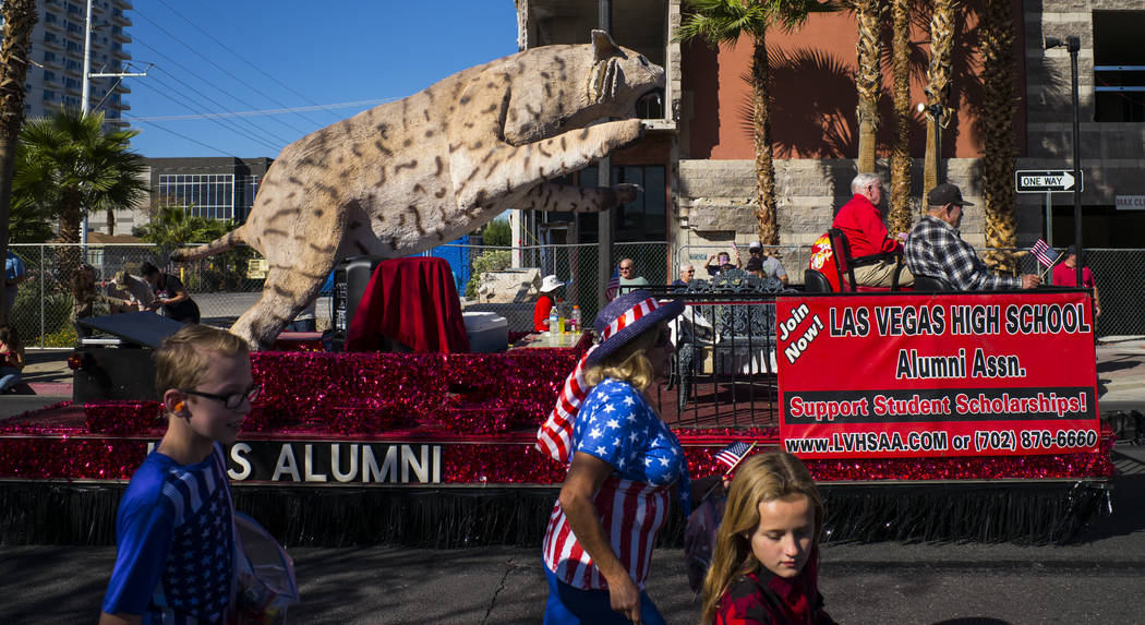 A float representing the Las Vegas High School alumni association passes by during the Veterans Day Parade in downtown Las Vegas on Saturday, Nov. 11, 2017. Chase Stevens Las Vegas Review-Journal  ...