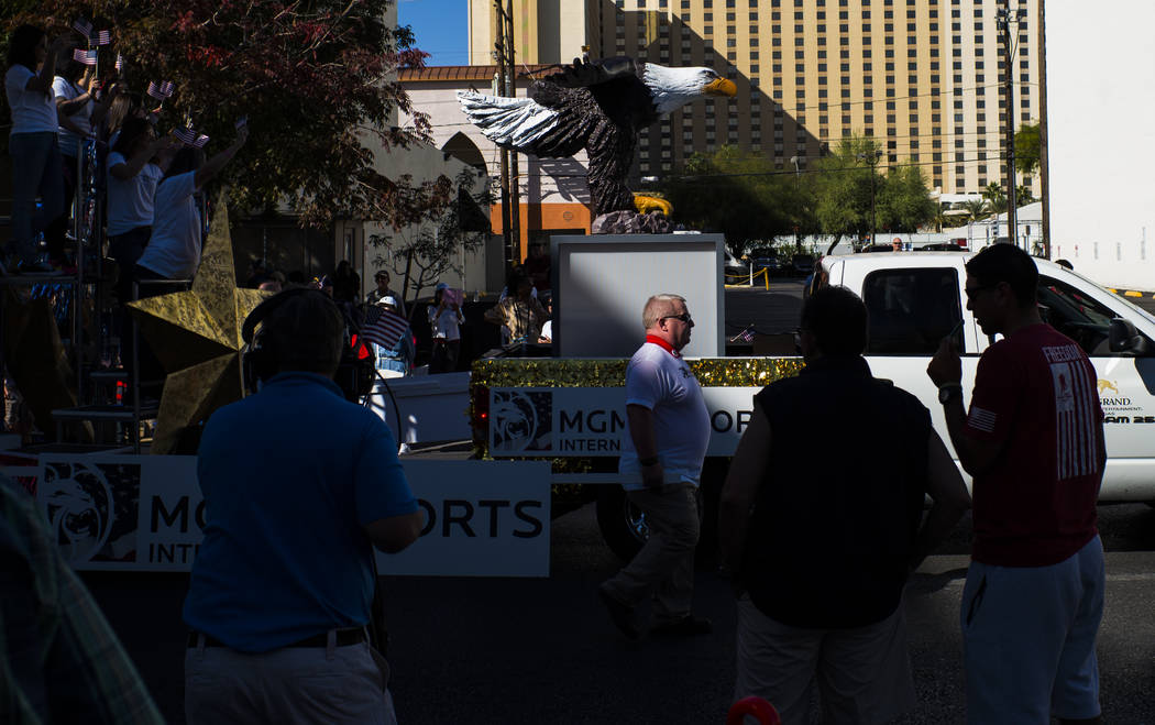 An MGM Resorts float passes by during the Veterans Day Parade in downtown Las Vegas on Saturday, Nov. 11, 2017. Chase Stevens Las Vegas Review-Journal @csstevensphoto