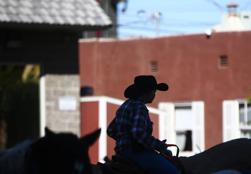 A parade participant on horseback is silhouetted during the Veterans Day Parade in downtown Las Vegas on Saturday, Nov. 11, 2017. Chase Stevens Las Vegas Review-Journal @csstevensphoto