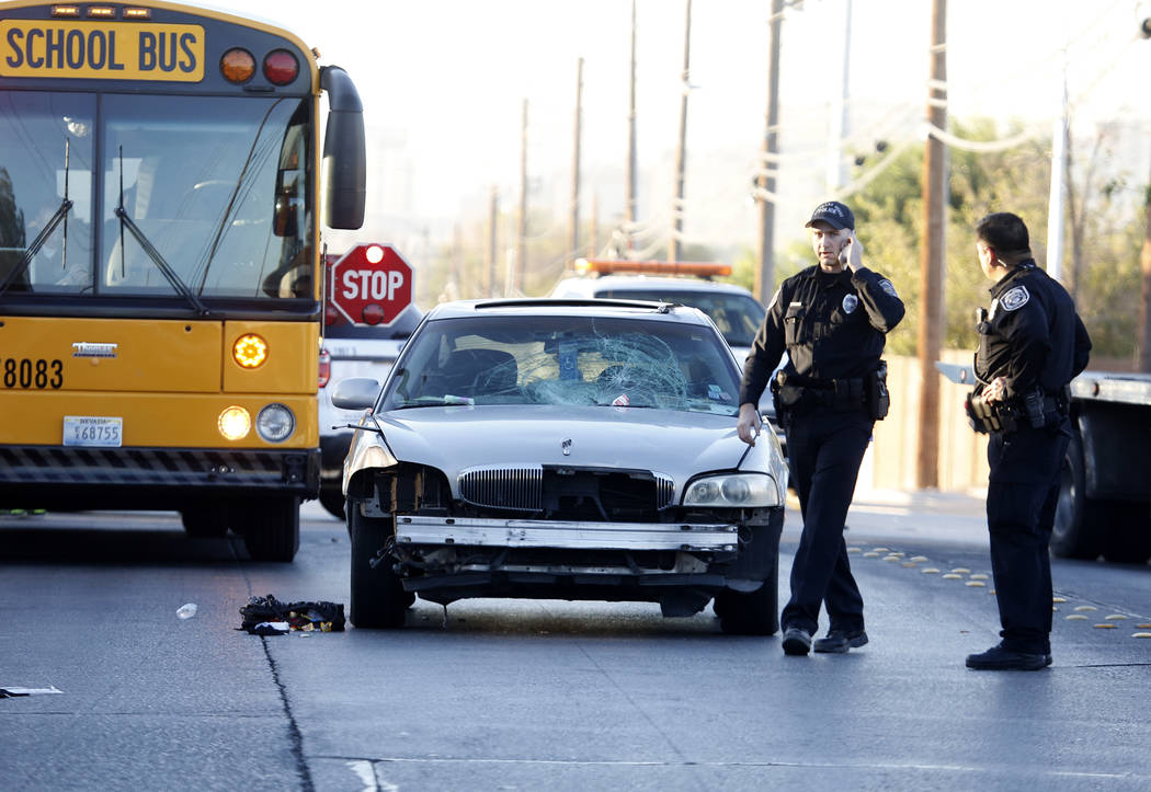 North Las Vegas police investigate an accident involving a teenager and a car on Commerce Street at Rossmoyne Avenue in North Las Vegas Thursday, Nov. 2, 2017. Bizuayehu Tesfaye/Las Vegas Review-J ...
