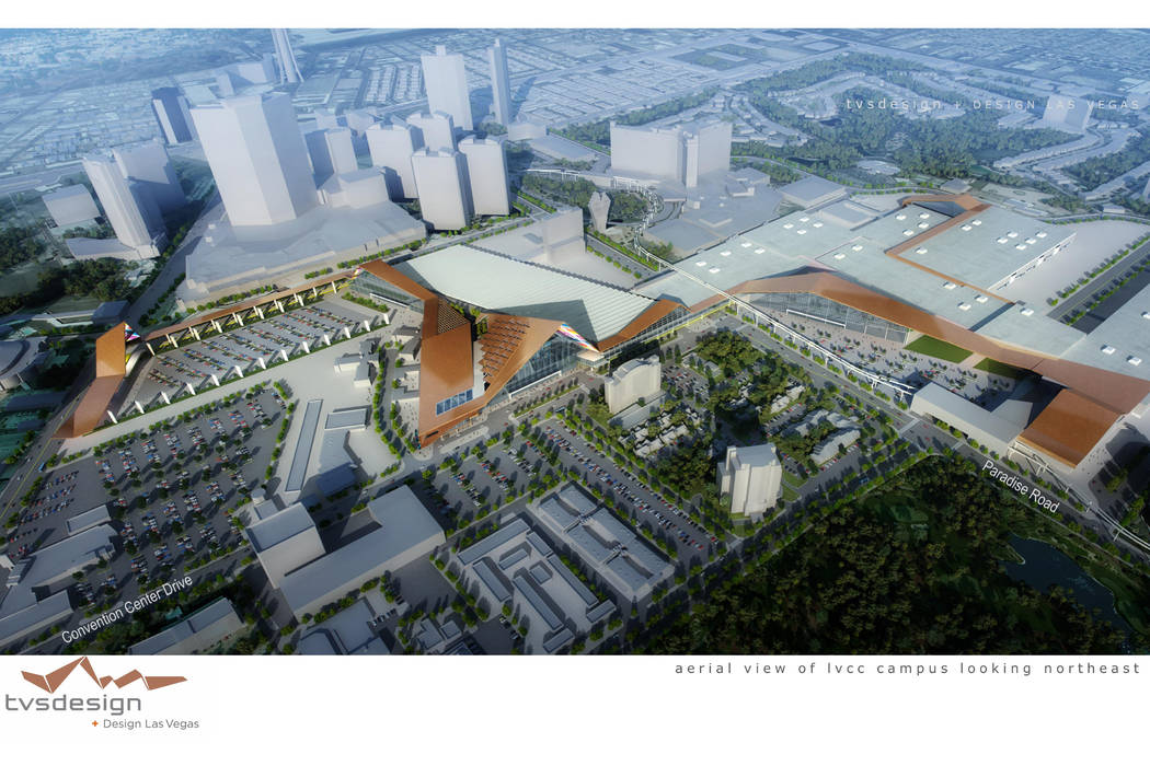 A rendering of TVS Design's plan shows the building's frontage on Convention Center Drive near Paradise Road. TVS Design
