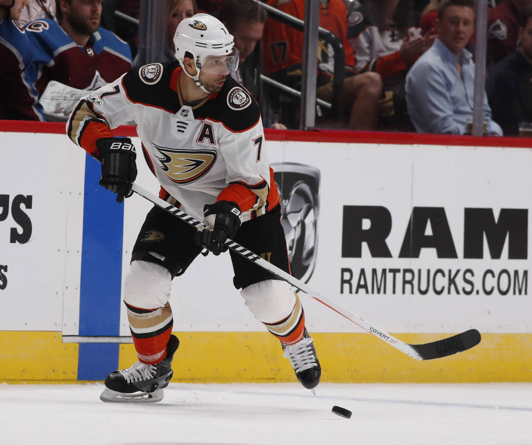 Anaheim Ducks left wing Andrew Cogliano (7) in the second period of an NHL hockey game Friday, Oct. 13, 2017, in Denver. (AP Photo/David Zalubowski)