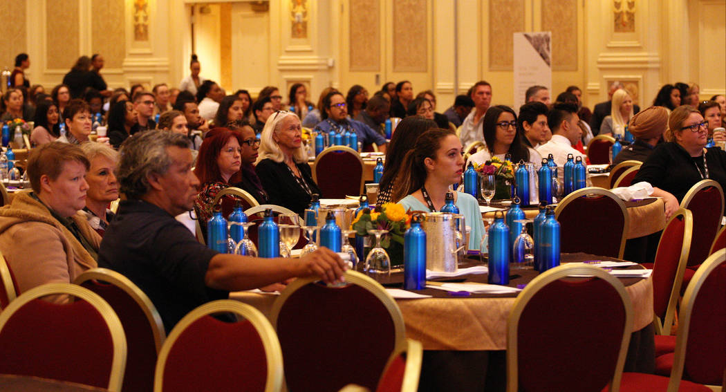 A crowd listens to Giuseppe Pizano remark his time as a homeless youth during the 2017 Southern Nevada Youth Homeless Summit at The Venetian hotel-casino in Las Vegas, Thursday, Nov. 2, 2017. Gabr ...