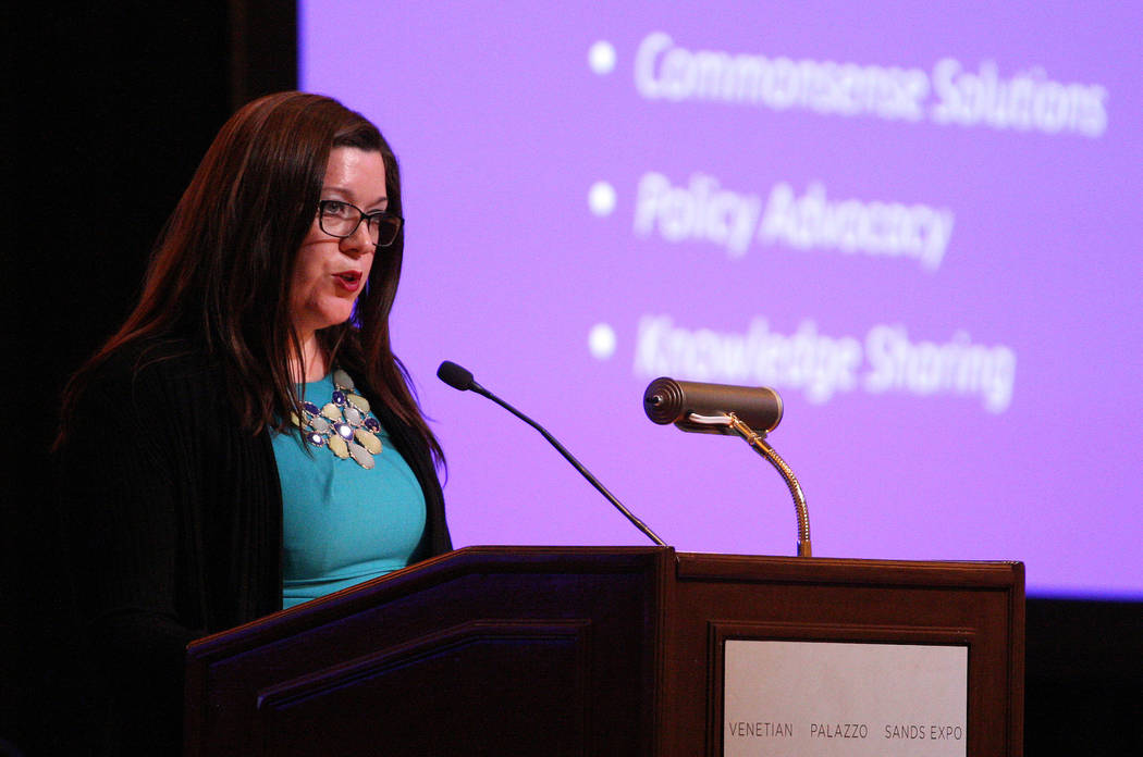 Darla Bardine, executive director of the National Network for Youth, describes how minors become homeless during the 2017 Southern Nevada Youth Homeless Summit at The Venetian hotel-casino in Las  ...
