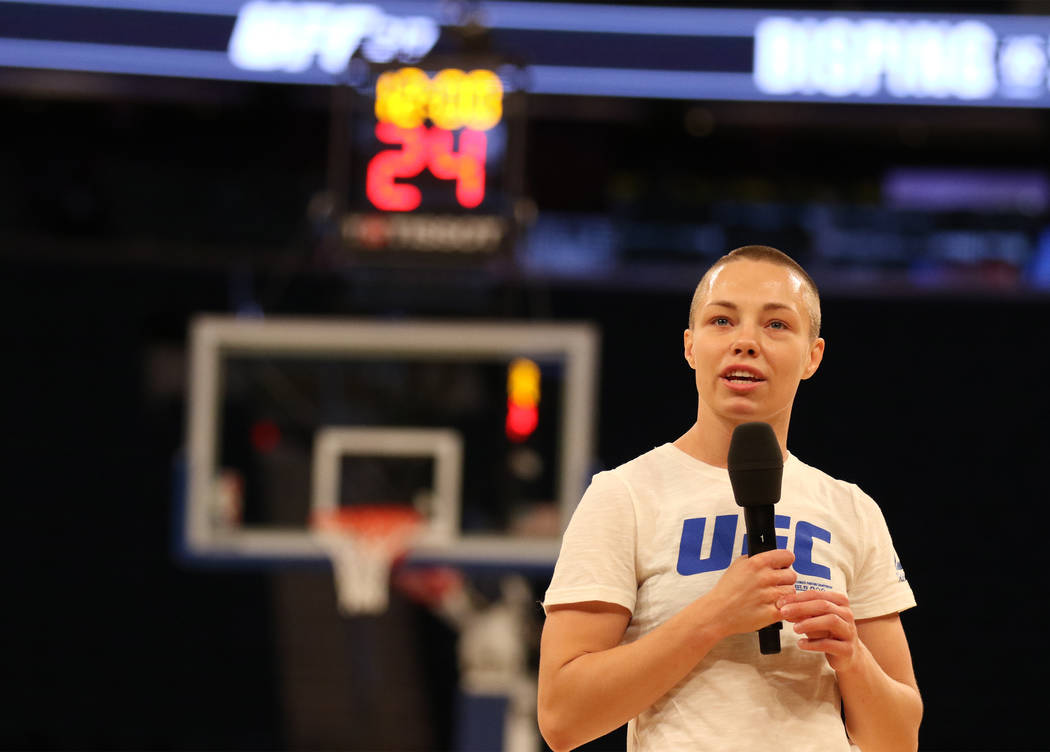 UFC strawweight contender Rose Namajunas answers questions from media at UFC 217 open workouts at Madison Square Garden in New York, New York, Wednesday, Nov. 1, 2017. Heidi Fang Las Vegas Review- ...