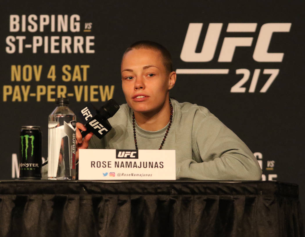 UFC strawweight Rose Namajunas listens to a question at the UFC 217 news conference at Madison Square Garden in New York, New York, Thursday, Nov. 2, 2017. Heidi Fang Las Vegas Review-Journal @Hei ...
